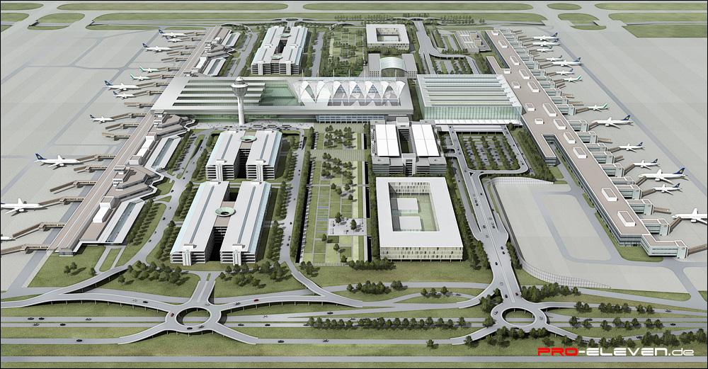 3d Visualisierung München projekte städtebau flughafen münchen pro eleven münchen